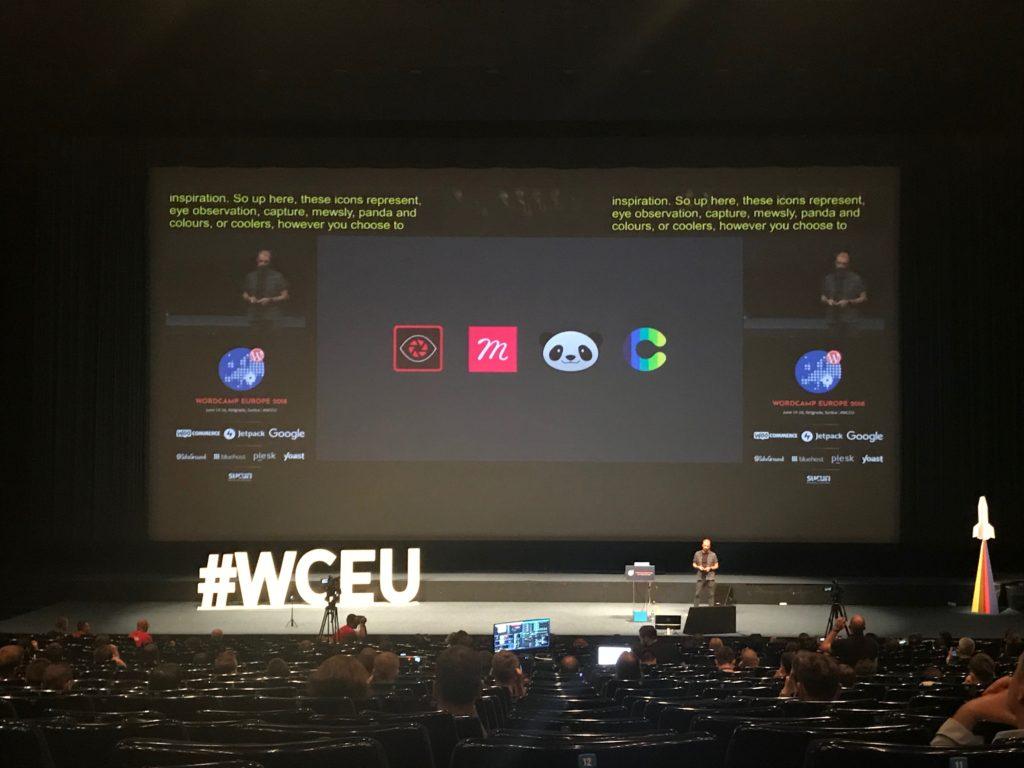 Foto van een van de vele talks op WCEU - Talk over design inspiratie