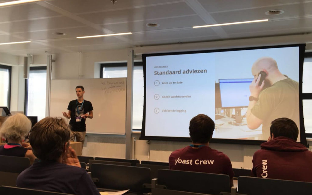 Photo of Niels during WordCamp Nijmegen 2018