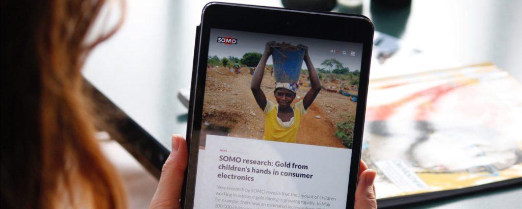 Screenshot website SOMO op tablet
