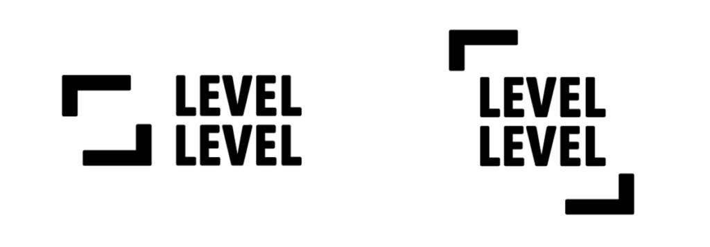 Logo Level Level links kader met daarnaast tekst Level Level en rechts Level Level in het kader van de twee L vomen