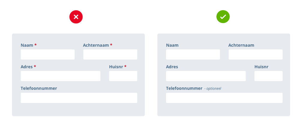 Een formulier met asterisk bij verplichte velden versus een formulier waarin alleen optioneel is gemarkeerd
