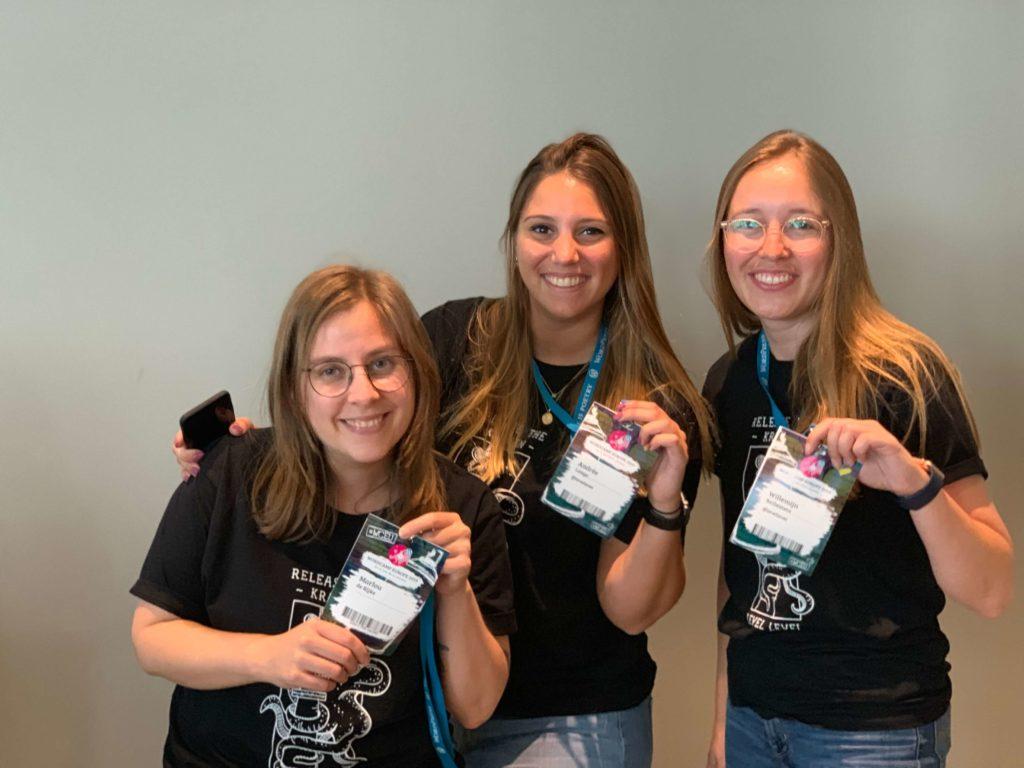 Marlou, Andrée en Willemijn op WordCamp 2019