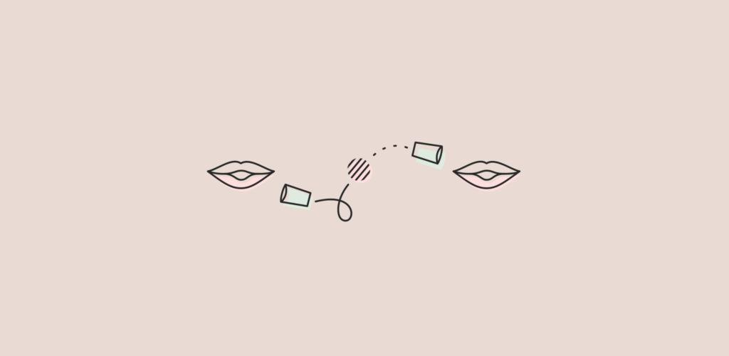 twee monden, ieder met een beter ernaast met een touwtje ertussen. Bij inclusive design help je gebruikers communiceren op de manier waar ze zich comfortabel bij voelen.