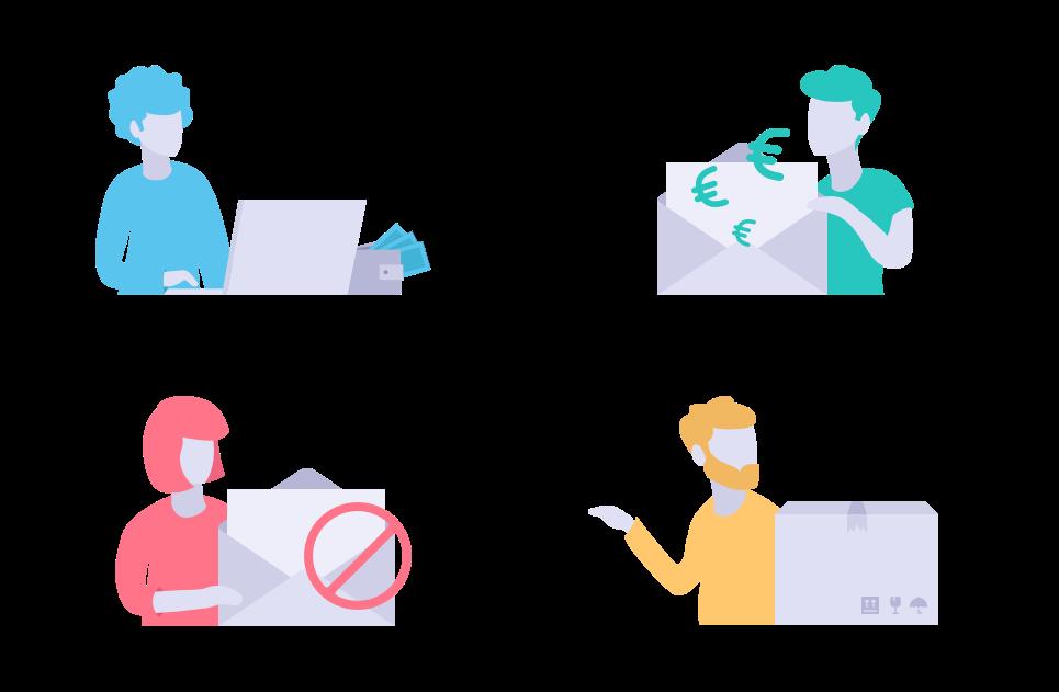 Illustratieve afbeelding van de vier hoofdcategorieën van de regionale belasting groep website