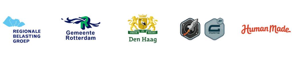 Logo's Regionale belastinggroep, Gemeente Rotterdam, Gemeente Den Haag, Rocket Genius Gravity Forms, Human Made