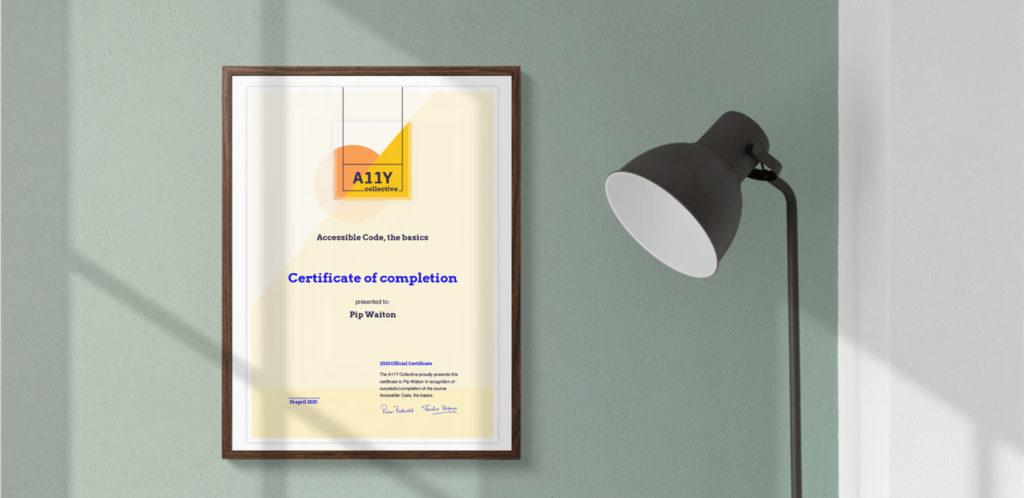 A11Y Collective certificate op de muur!