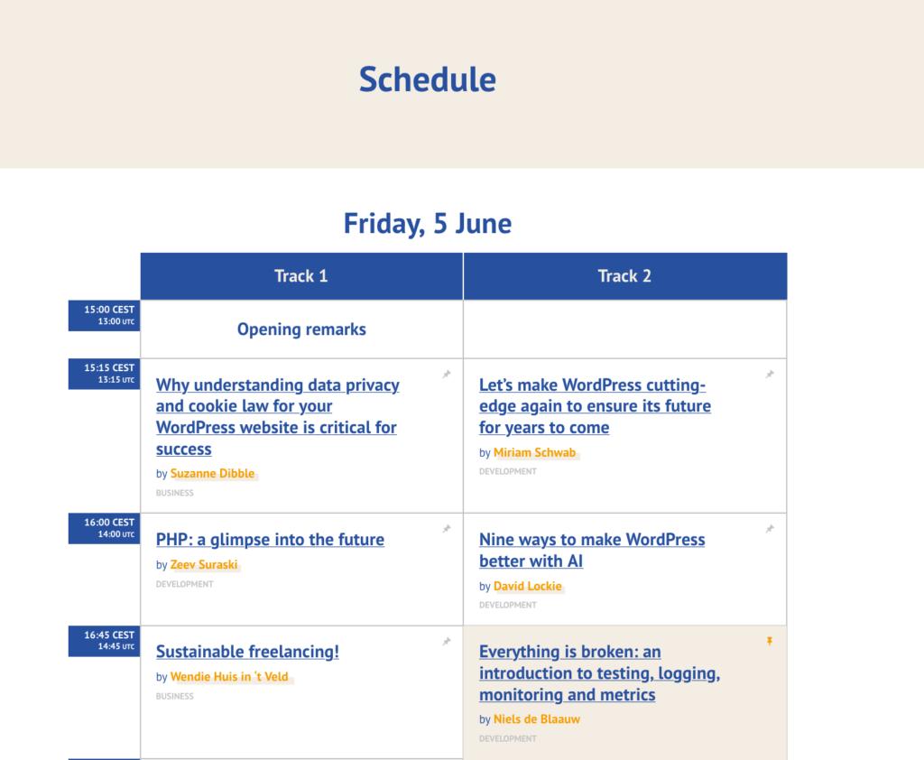 Planning van WordCamp Europe op vrijdag