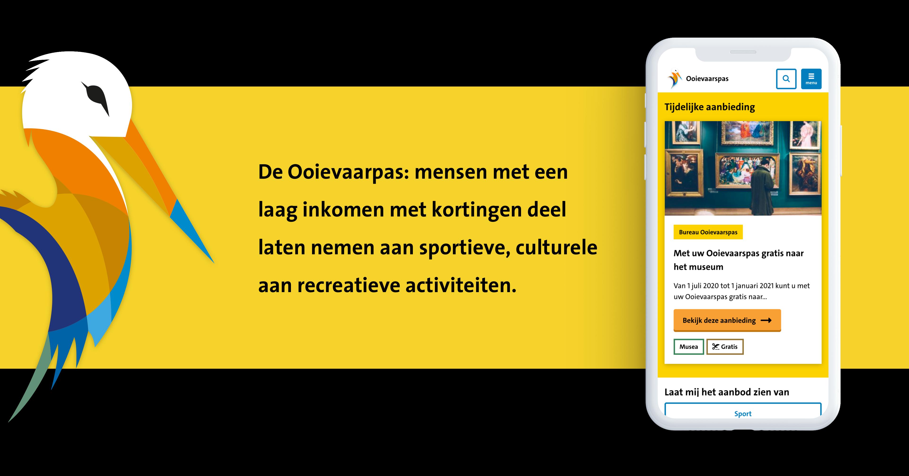Ooievaar en mobiel scherm van de Ooievaarspas website