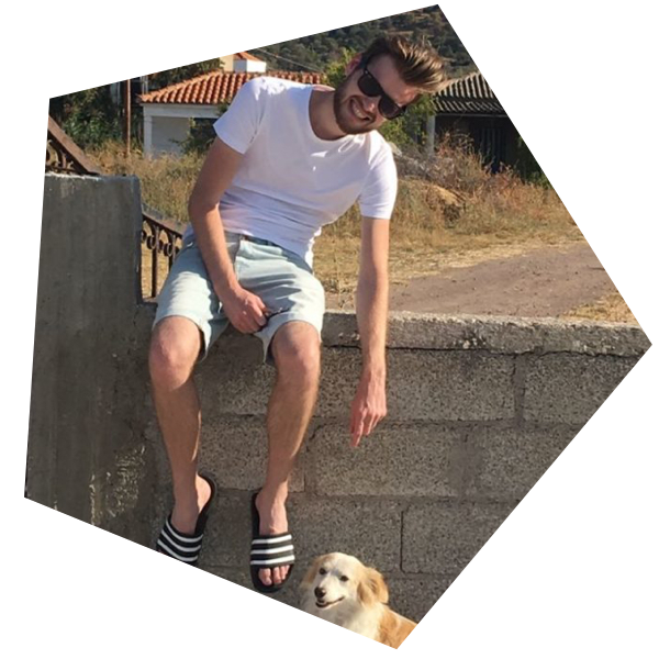 A photo of Kevin sitting on a wall and a dog