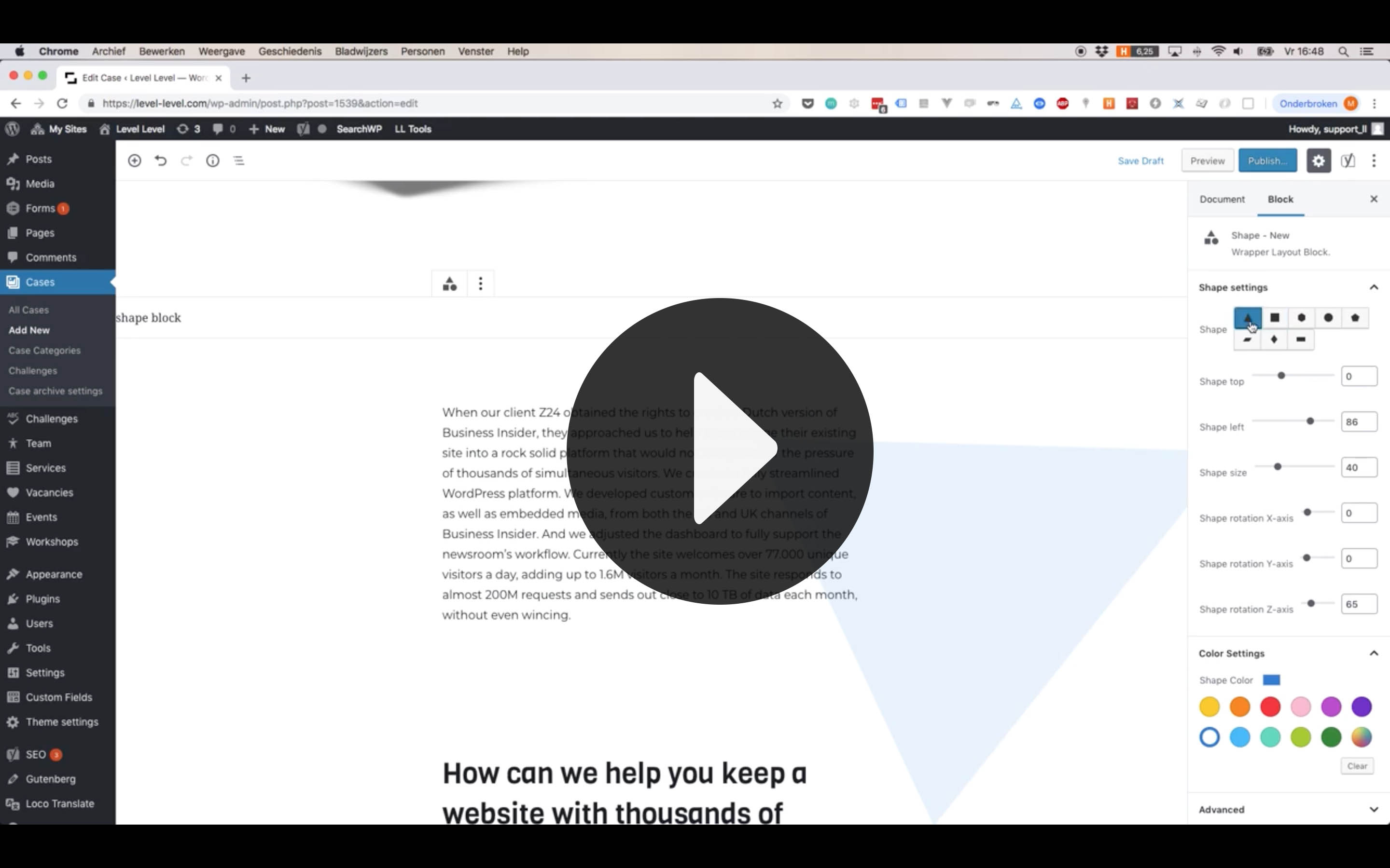 Video's of the back-end in WordPress on how we created the Gutenblocks.