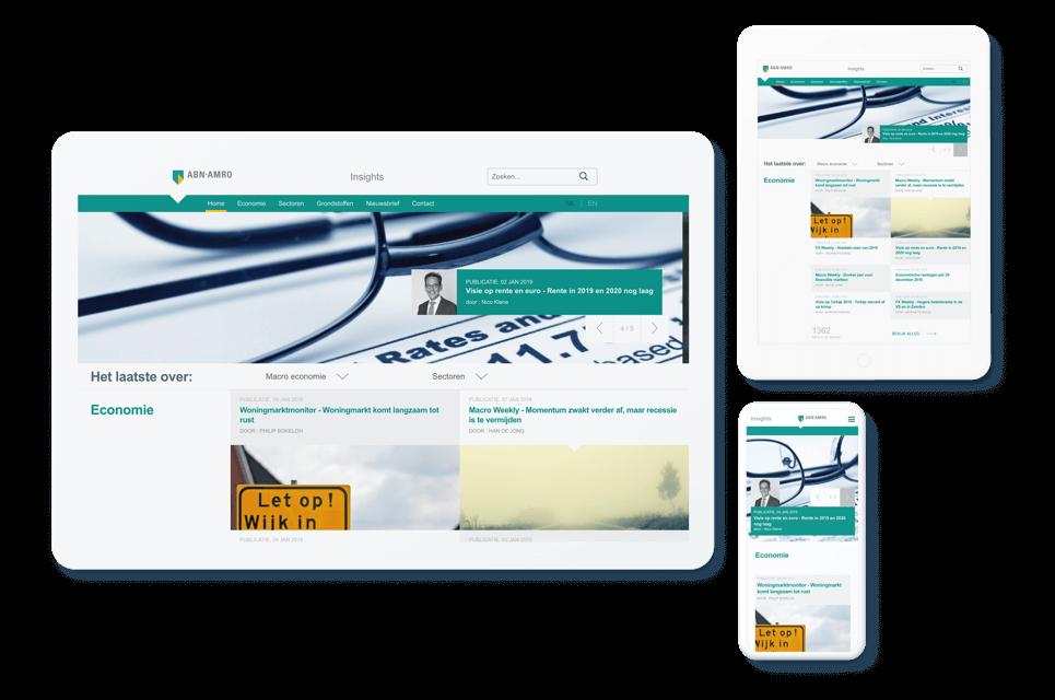Screenshot ABN AMRO Insights op tablet liggend, tablet staand en mobiel