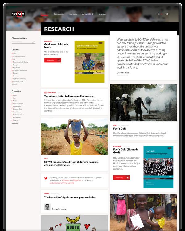 Screenshot website SOMO
