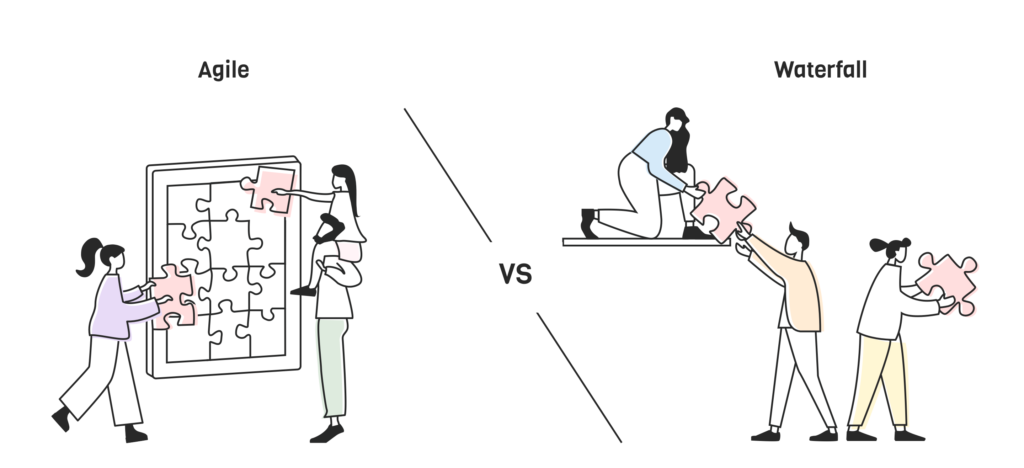 Illustration agile vs waterfall