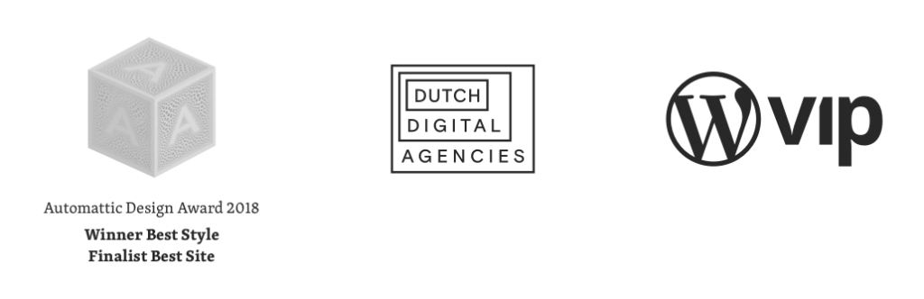 Logos Automattic awards, Dutch Digital Agencies and WordPress VIP