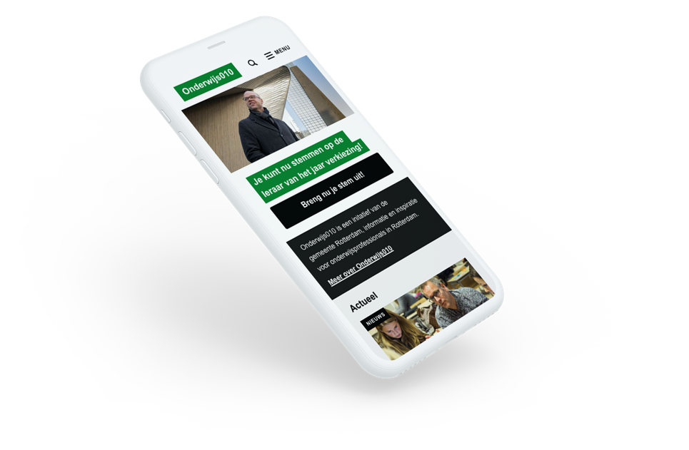 Homepage of Onderwijs010 on a mobile screen