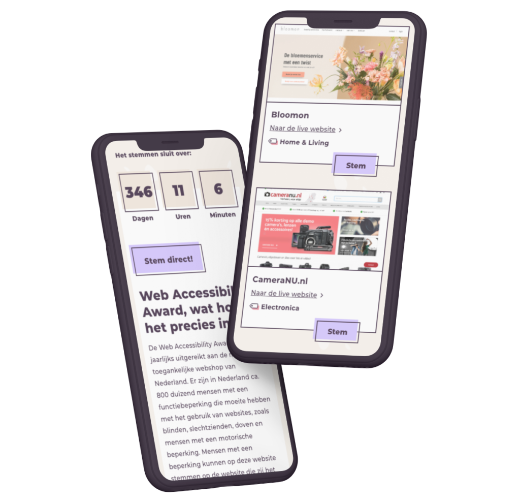 Web Accessibility Award mockup mobile devices