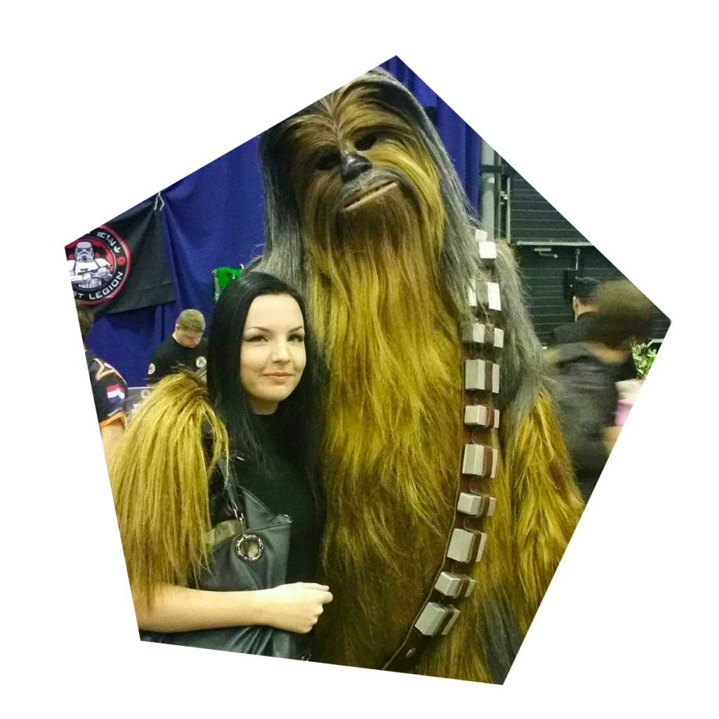 Caitlin with Chewbakka at a conference